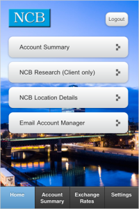 NCB Client View for blackberry app Screenshot
