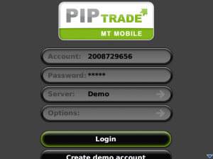 PIPTRADE MT Mobile for blackberry app Screenshot