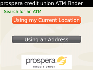 prospera credit union ATM Finder for blackberry app Screenshot