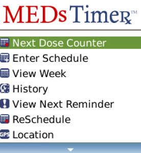 MEDsTimer for blackberry app Screenshot