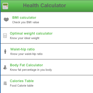 Health Calculator for blackberry app Screenshot