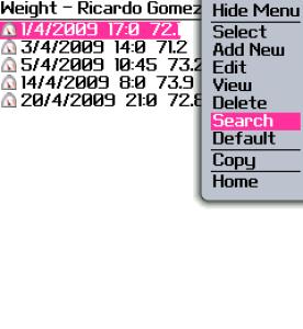 Weight Tracker for blackberry app Screenshot