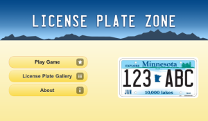 License Plate Zone for blackberry game Screenshot