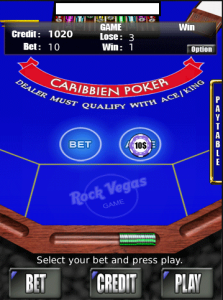RVG Caribbean Poker for blackberry game Screenshot
