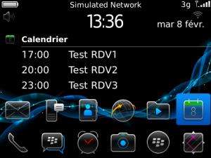 Menu 2 lignes + calendrier for BlackBerry Bold 97xx OS6 for