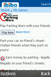 ibibo Parking Wars for blackberry app Screenshot