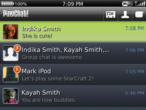 PingChat for blackberry app Screenshot