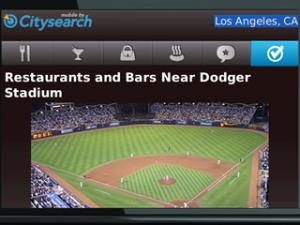 Citysearch for blackberry app Screenshot