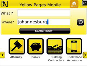 Yellow Pages SA for blackberry app Screenshot