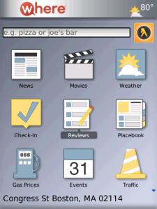 WHERE for blackberry app Screenshot