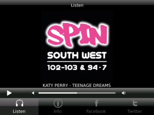 SPIN South West for blackberry
