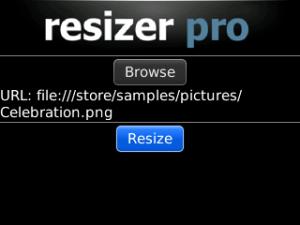 Resizer Pro for blackberry Screenshot
